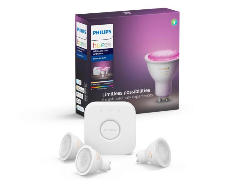 Philips Hue White & Color Ambiance kit de démarrage spot LED GU10 6,5W dimmable 3 pièces
