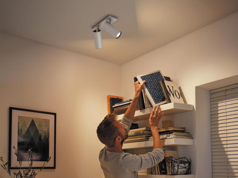 Philips Hue White Ambiance Buratto LED balkspot GU10 2x5,5 W + dimmer aluminium