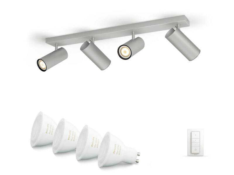Philips Hue White Ambiance Buratto LED balkspot GU10 4x5,5 W + dimmer aluminium