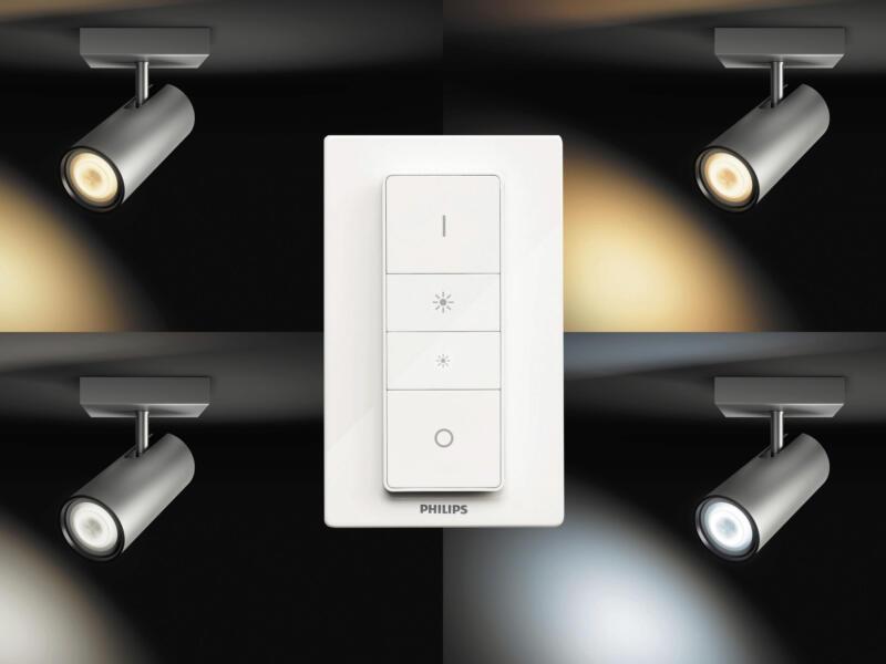 Philips Hue White Ambiance Buratto LED wandspot GU10 5,5W + dimmer aluminium