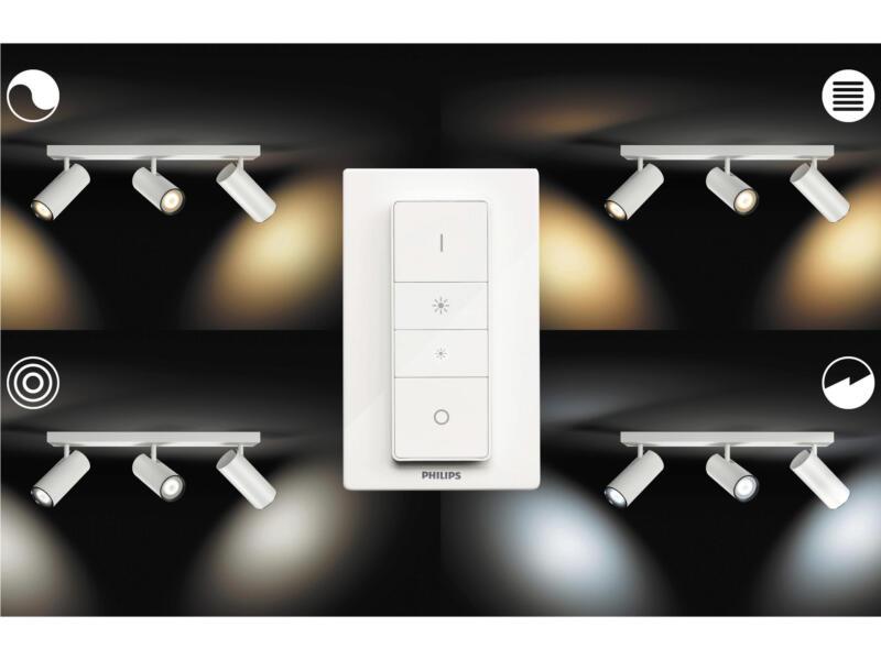 Philips Hue White Ambiance Buratto barre de spots LED GU10 3x5,5 W + dimmer blanc