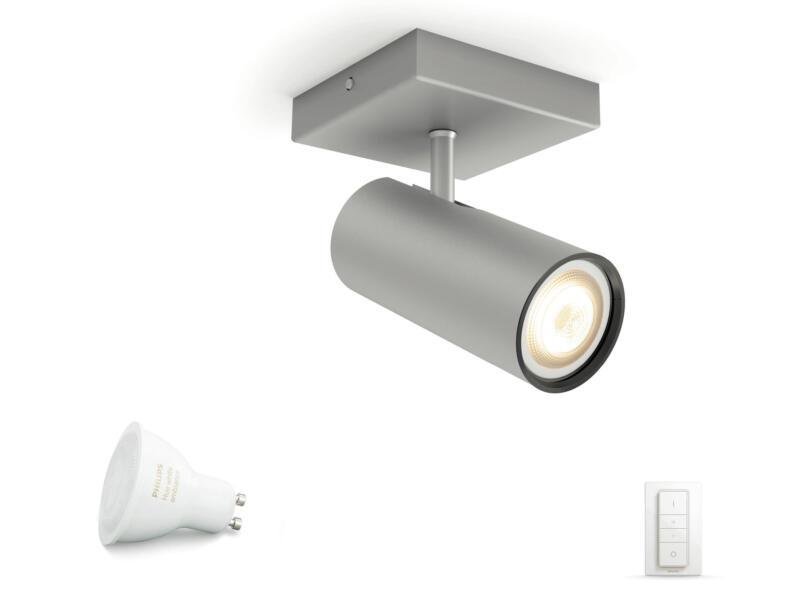Philips Hue White Ambiance Buratto spot mural LED GU10 5,5W + dimmer aluminium
