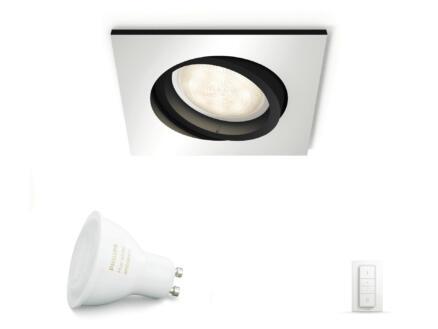 Philips Hue White Ambiance spot LED encastrable GU10 5,5W + dimmer aluminium