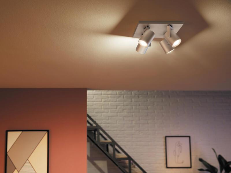 Philips Hue White and Color Ambiance Argenta LED plafondspot GU10 4x5,5 W dimbaar aluminium