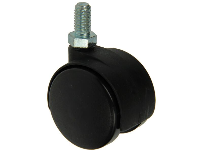 Tente Wiel dubbel 40mm met schroefdraad
