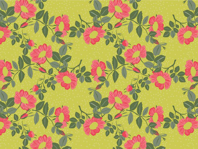 Captain Cook Wildflowers toile cirée 140x180 cm celery