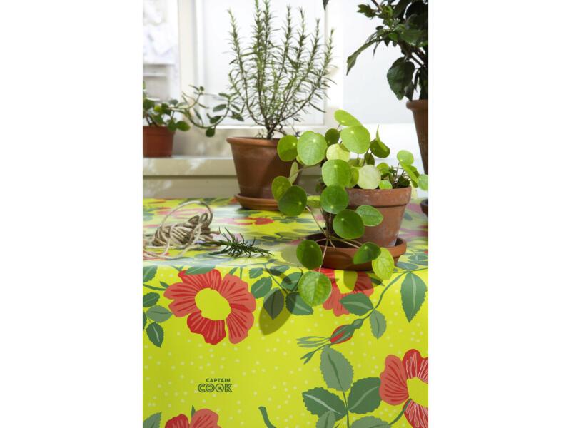 Captain Cook Wildflowers toile cirée ronde 160cm celery