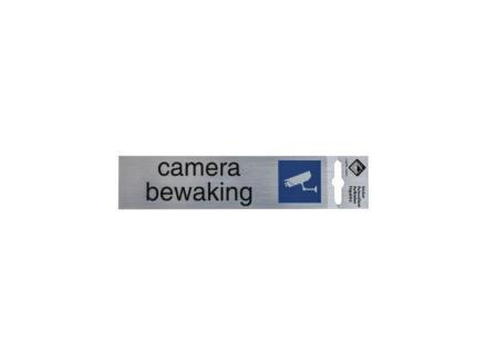 Zelfklevend deurbord camerabewaking 17x4,4 cm aluminium look
