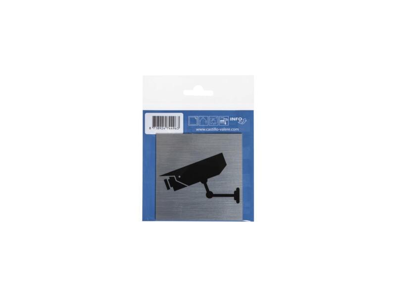 Zelfklevend deurbord camerabewaking 8,5x8,5 cm aluminium look