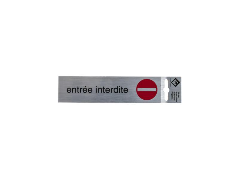 Zelfklevend deurbord entrée interdite 17x4,4 cm aluminium look