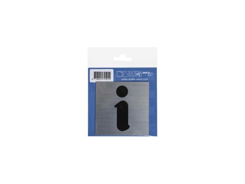 Zelfklevend deurbord informatie 8,5x8,5 cm aluminium look