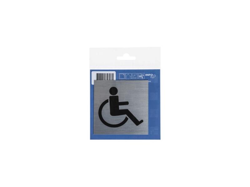 Zelfklevend deurbord rolstoel 8,5x8,5 cm aluminium look