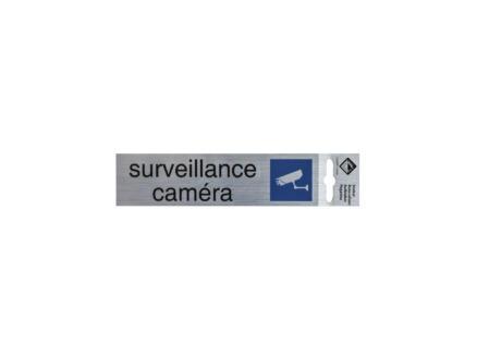 Zelfklevend deurbord surveillance caméra 17x4,4 cm aluminium look