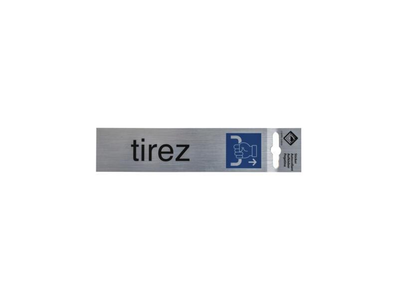 Zelfklevend deurbord tirez 17x4,4 cm aluminium look