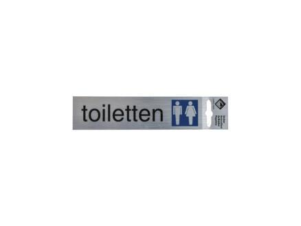 Zelfklevend deurbord toiletten 17x4,4 cm aluminium look