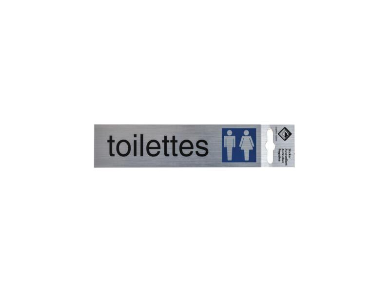 Zelfklevend deurbord toilettes 17x4,4 cm aluminium look