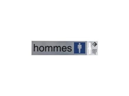 Zelfklevend deurbord toilettes hommes 17x4,4 cm aluminium look