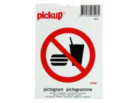 Zelfklevend pictogram consumpties verboden 10cm