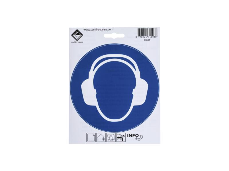 Zelfklevend pictogram gehoorbescherming verplicht 15cm