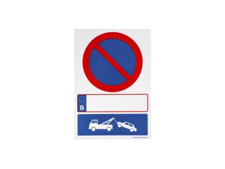 Zelfklevend pictogram parkeerverbod en wegsleepregeling 23x33 cm