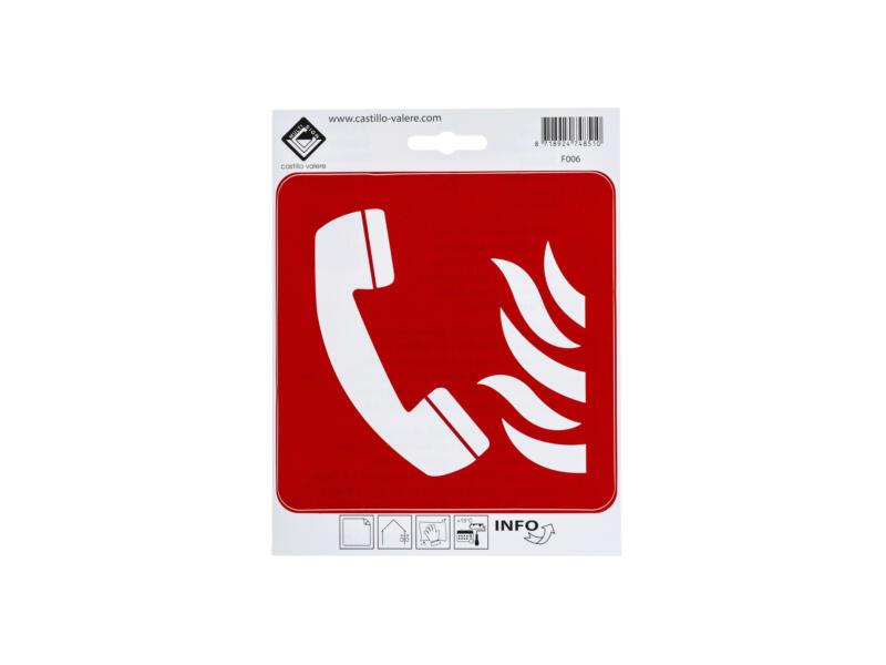 Zelfklevend pictogram telefoon voor brandalarm 15x15 cm