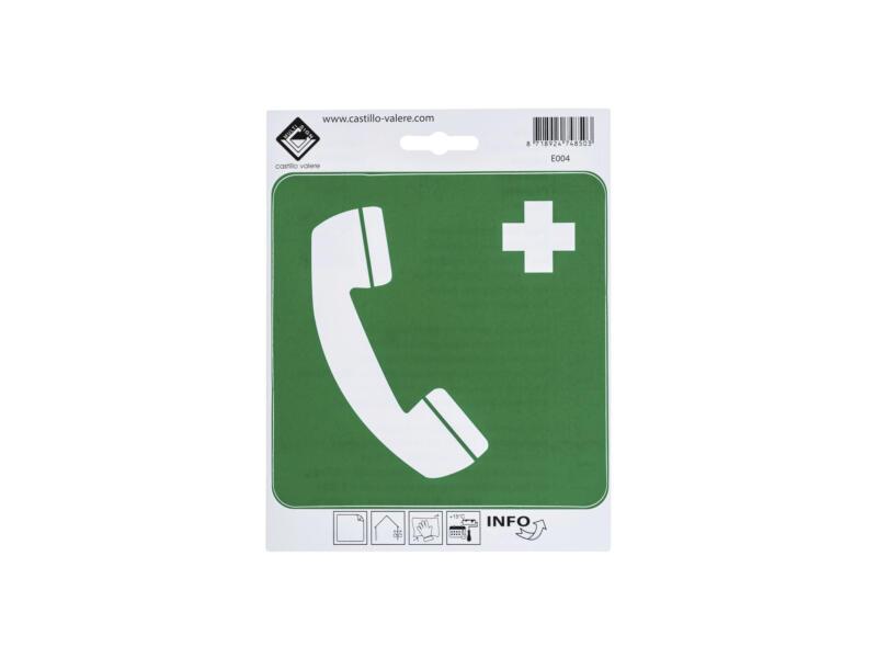 Zelfklevend pictogram telefoon voor redding 15x15 cm