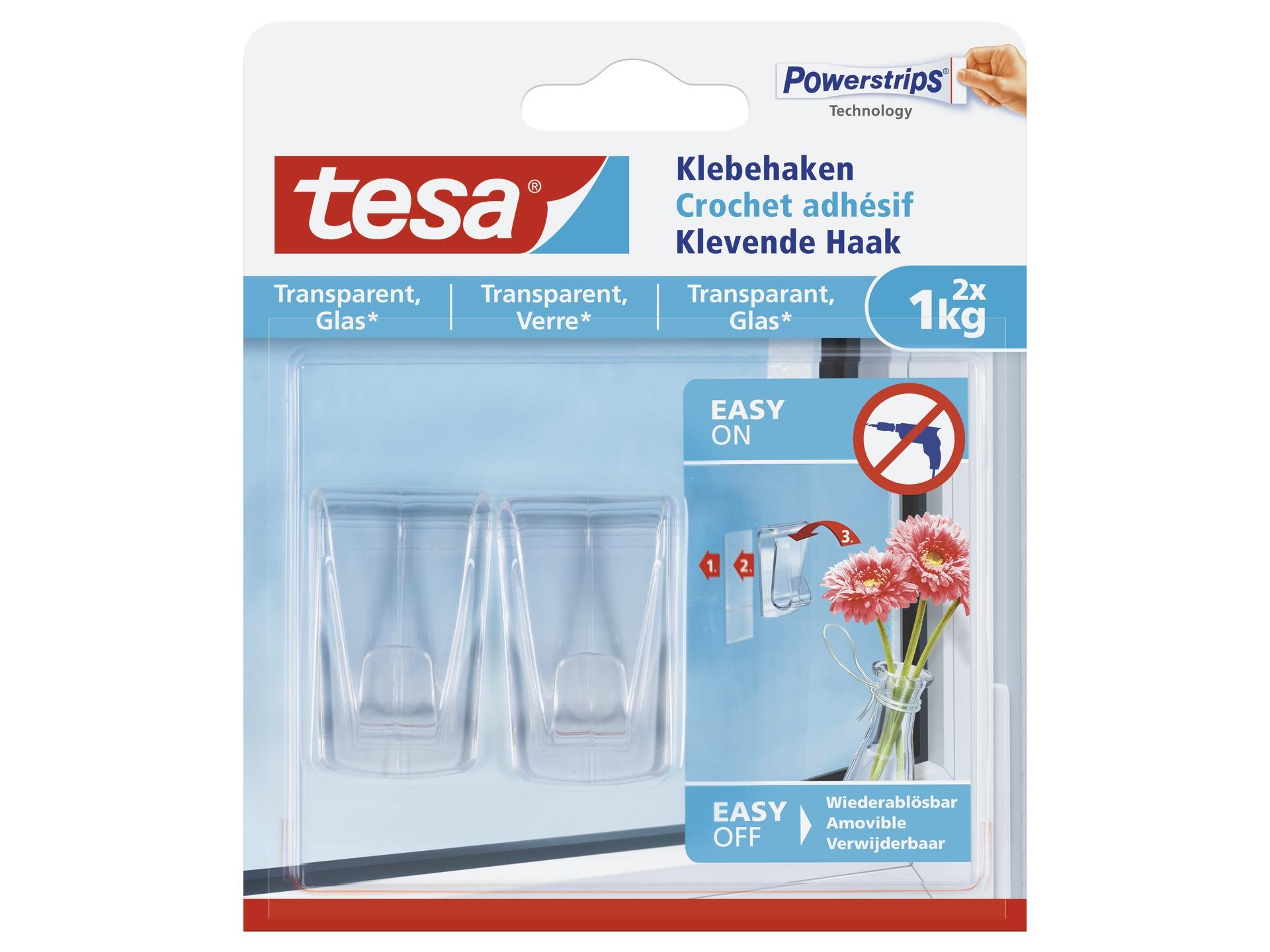 Tesa Zelfklevende Haken Voor Transparante Materialen Glas 1kg Hubo