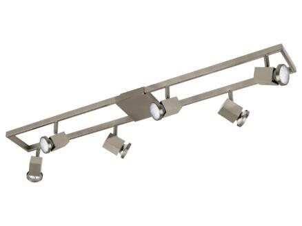 Eglo Zeraco barre de spots LED GU10 6x5 W nikkel mat