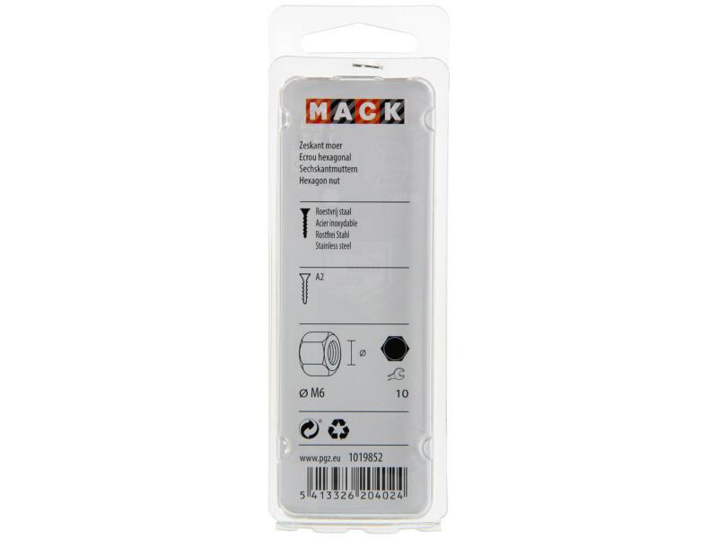 Mack Zeskantmoer M6 inox 12 stuks
