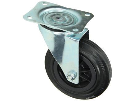 Tente Zwenkwiel 160mm met plaat en rollager rubber