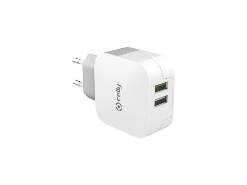 Celly adaptateur secteur double USB 3,4A