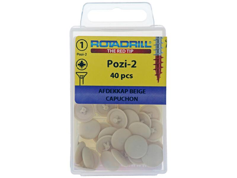 Rotadrill afdekkapje voor PZ2-schroeven beige 40 stuks