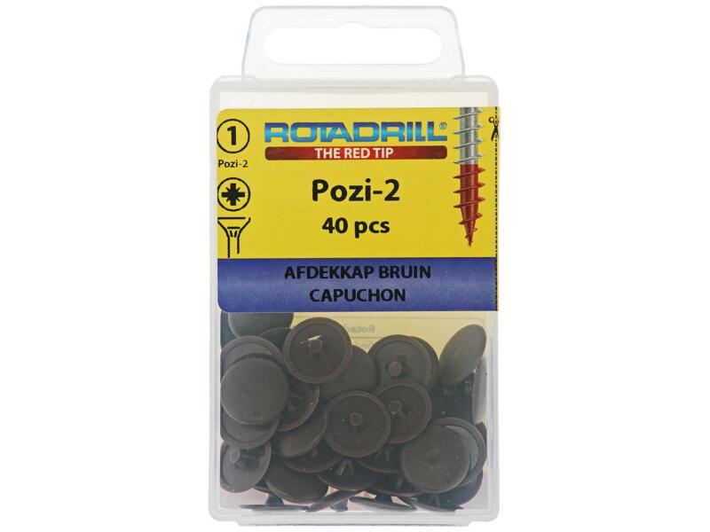 Rotadrill afdekkapje voor PZ2-schroeven bruin 40 stuks