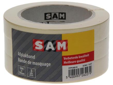 Sam afplaktape 50m x 19mm wit 3 stuks
