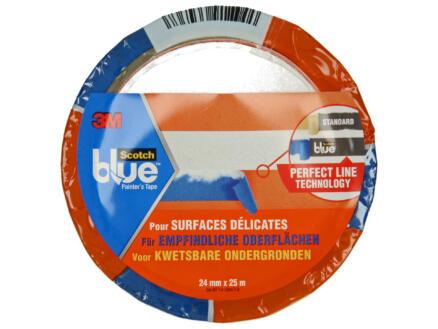 Scotch Blue afplaktape kwetsbare ondergrond 25m x 24mm blauw