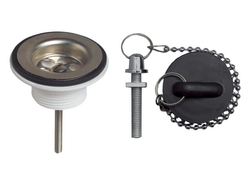 Wirquin afvoerplug 32mm met gootsteenstop en ketting