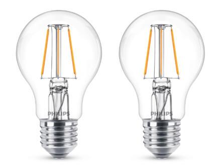 Philips ampoule LED poire E27 filament 7W 2 pièces