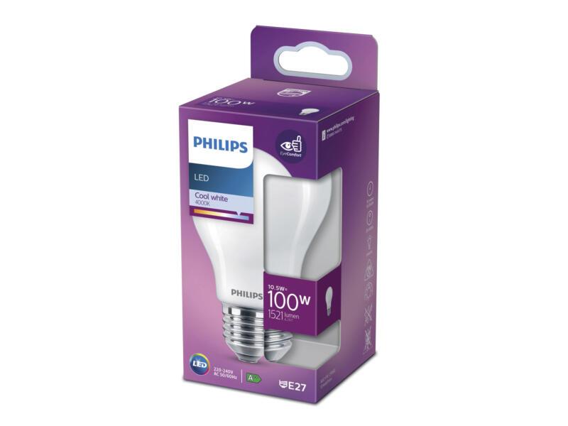 Philips ampoule LED poire verre mat E27 10,5W blanc froid
