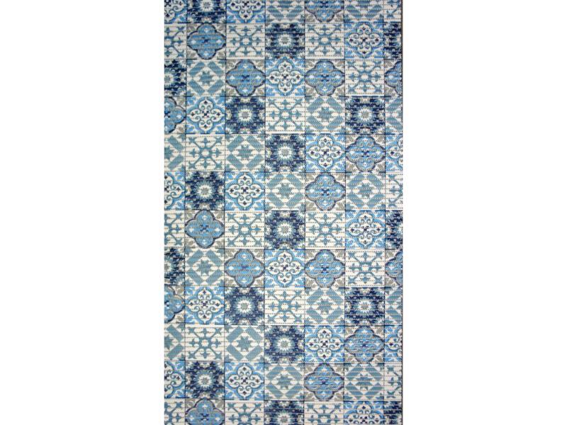 Finesse antislip badmat 80x50 cm tile blue
