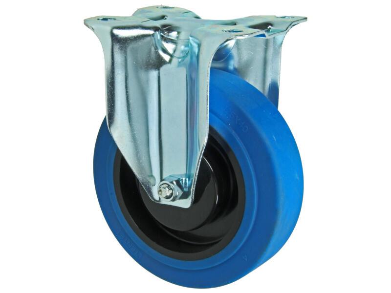 Tente bokwiel 125mm met rubberloopvlak blauw