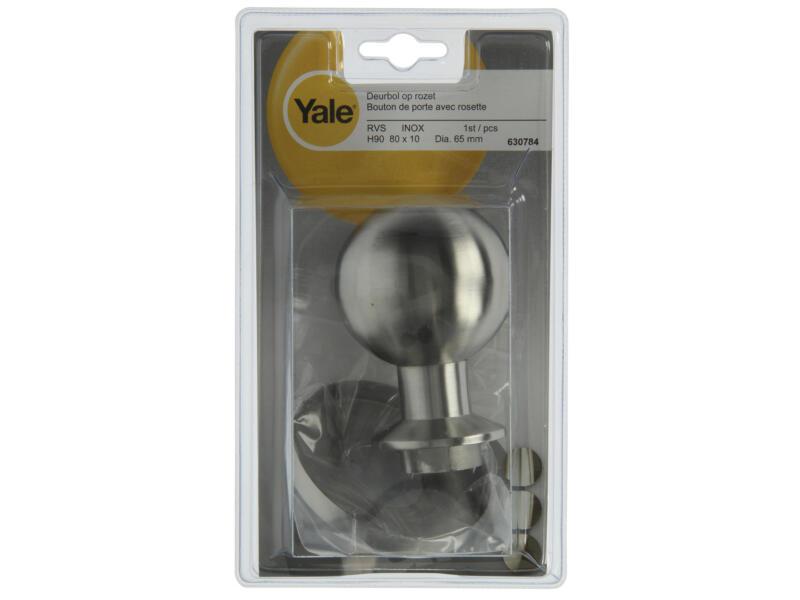 Yale bouton de porte avec rosaces 65mm inox