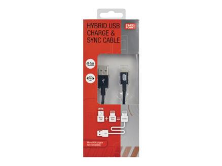 Carpoint câble USB Apple / micro-USB 1m noir