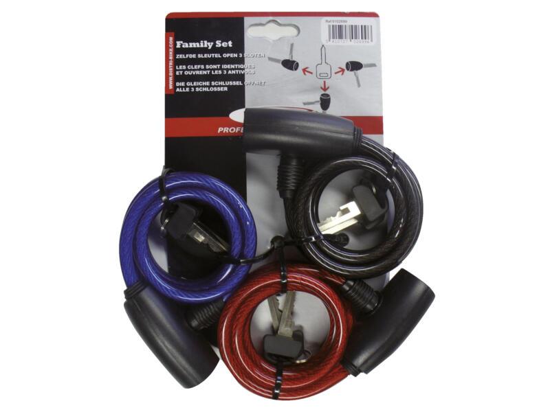 Maxxus câble antivol à clé 150cm 3 pièces