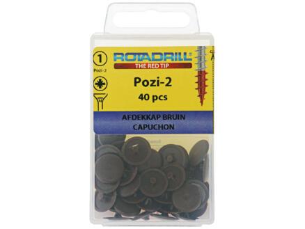 Rotadrill cache-vis pour vis PZ2 brun 40 pièces