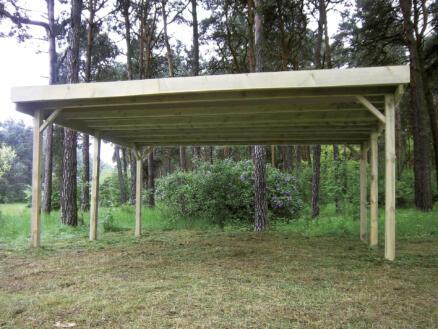 Gardenas carport double 600x500 cm bois