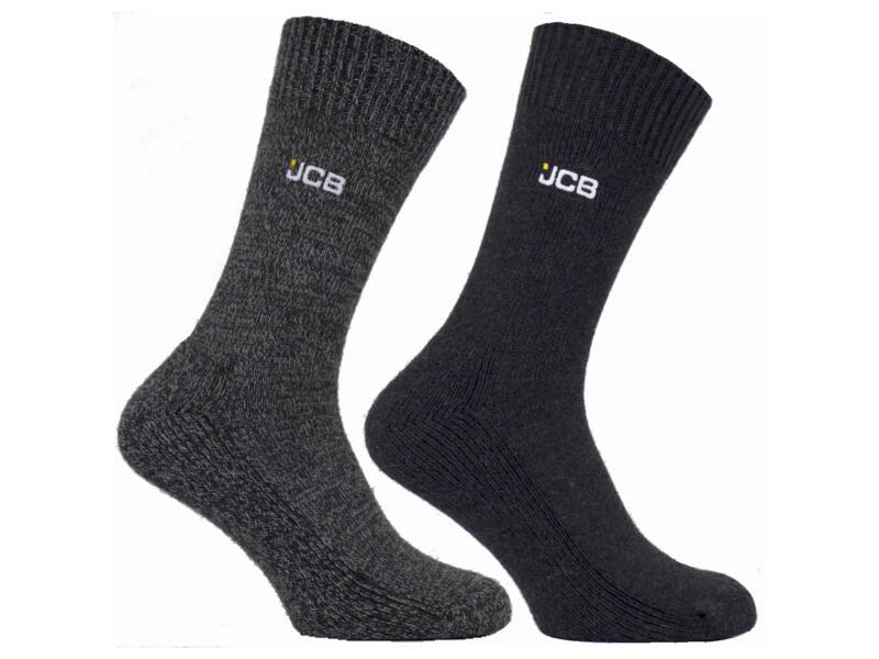 JCB chaussettes de bottine 44-47 gris/gris foncé 2 paires