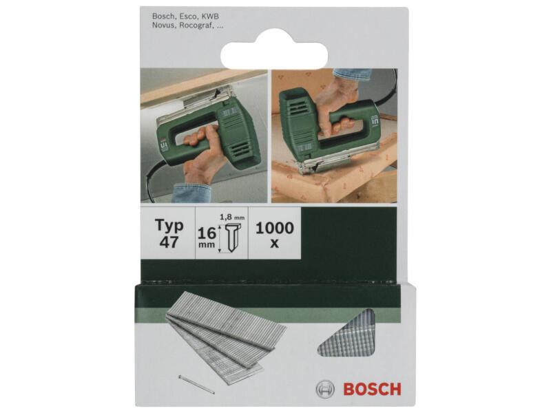 Bosch clous type 47 16mm 1000 pièces