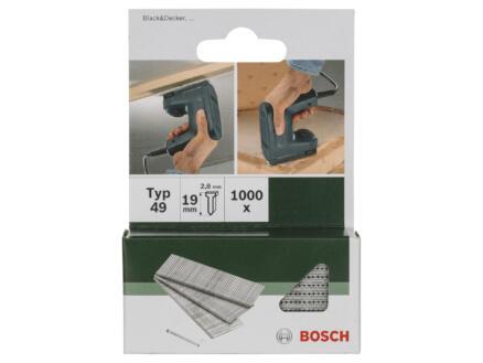 Bosch clous type 49 19mm 1000 pièces