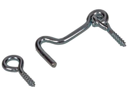 Sam crochet contrevent acier zingué 4x0,3 cm 2 pièces
