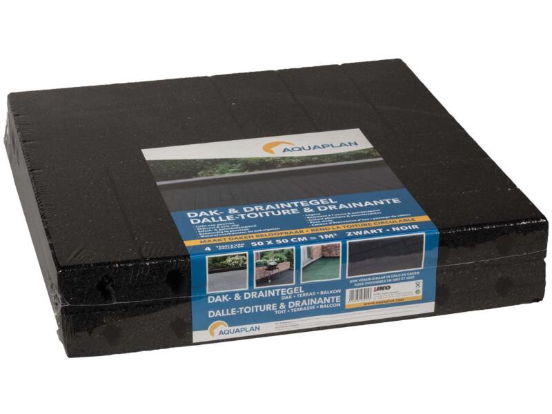 Aquaplan dalle de toiture drainante 50x50x1 cm 1m² caoutchouc noir 4 pièces